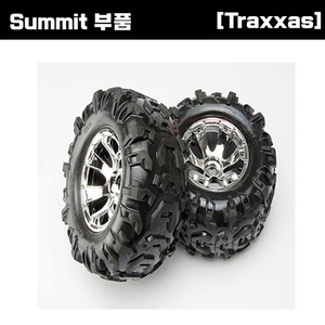 [Summit 부품] AX5673 Tires & wheels assembled glued (Geode chrome wheels Canyon AT tires foam inserts) (2)