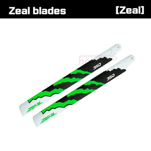 ZEAL Energy Carbon Fiber Main Blades 350mm (Green) [ZHM-G350C]