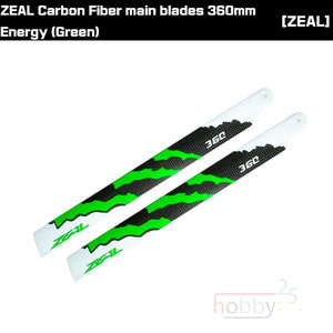 ZEAL ENERGY Carbon Fiber Main Blades 360mm (Green) [ZHM-NRG360G]